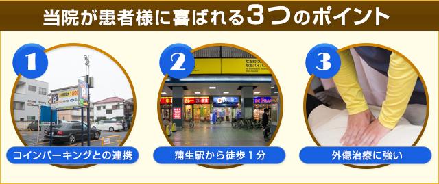 当院が患者様に喜ばれる3つのポイント 1コインパーキングとの連携 2蒲生駅から徒歩1分 3外傷治療に強い